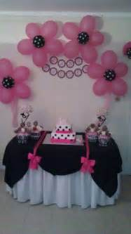 black and white polka dots and damask with fuschia pink accents baby shower party ideas