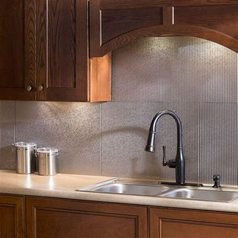 fasade 24 in x 18 in rib pvc decorative backsplash panel in galvanized steel b52 30 the home