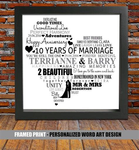 10 Year Wedding Anniversary Gifts by Personalized 10th Wedding Anniversary 10 Year Anniversary