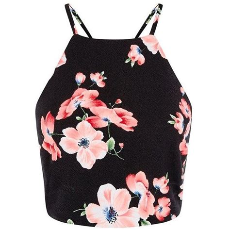 Flowery Tank Top black floral print high neck crop top 20 liked on