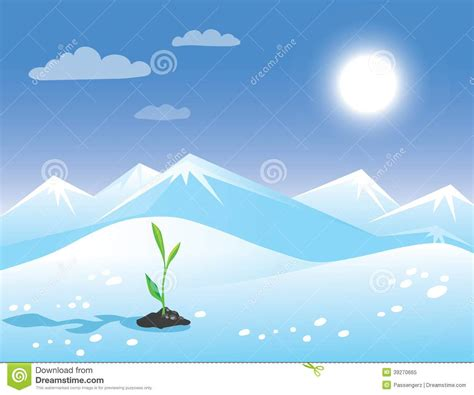 landscape greeting card template arctic landscape with green sprout stock