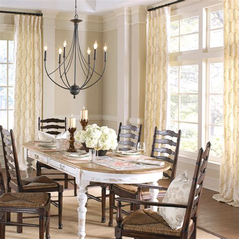 farmhouse chandelier dining room shabby chic with arch