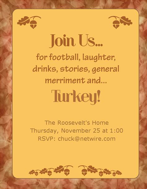 free dinner invitation template 7 best images of thanksgiving dinner invitation templates