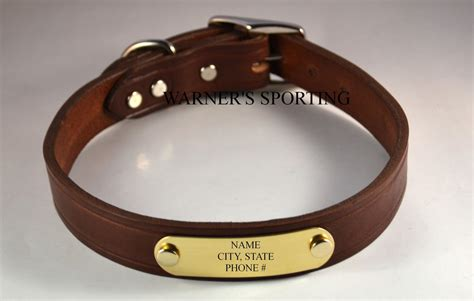 id collar warner cumberland brand leather collar with free brass id tag usa zeppy io
