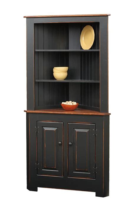 black corner cabinet for kitchen amish corner hutches handcrafted solid wood corner