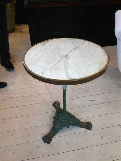Folding Table French Marble Top Bistro Table With Green Cast Iron Base