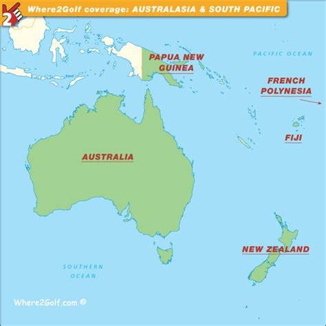 map of australasia golf map australasia with top golf courses