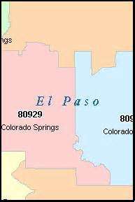 el paso zip code map el paso county colorado digital zip code map