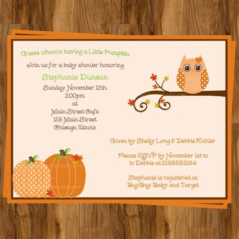 Fall Themed Baby Shower Invitations by Owl Autumn Baby Shower Invitations Fall Pumpkin Theme Set Of 10 Pri