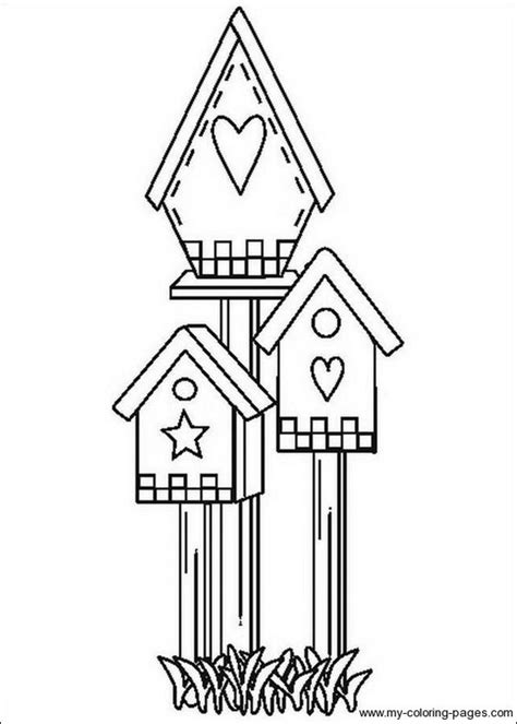 coloring pages bird houses bird houses to color birdhouse coloring pages 017