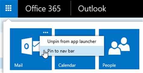 Office 365 Mail App Shortcuts To Mail Calendar And In Outlook On The