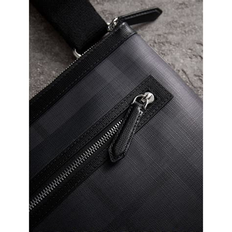 check in bag united leather trim london check crossbody bag in charcoal black