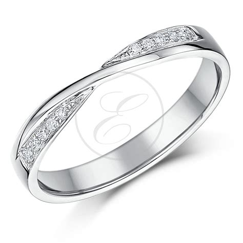 9ct white gold crossover wedding ring ebay