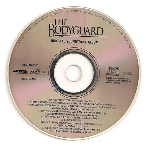 Cd Houston Ost The Bodyguard the bodyguard original soundtrack album by houston and various artists cd with