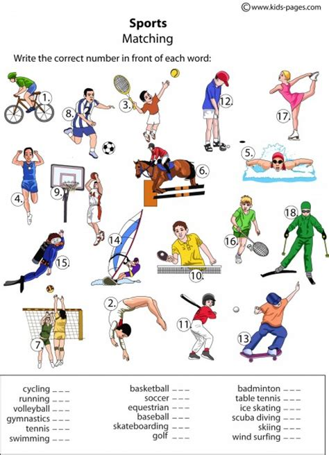 Sports Vocabulary Worksheet by Sports Matching Worksheet