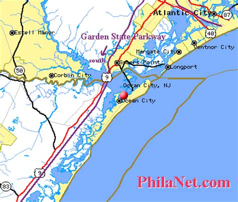 maps from philadelphia to the new jersey shore beaches