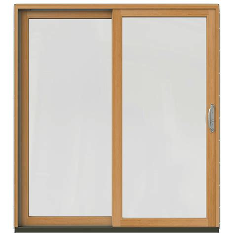 Wood Sliding Patio Door Jeld Wen 71 1 4 In X 79 1 2 In W 2500 Black Left Clad Wood Sliding Patio Door With Stain
