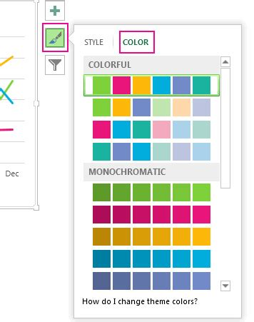 themes color palette excel change the color or style of a chart in office 2016