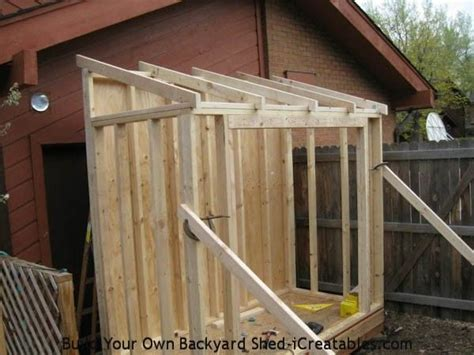 lean  shed rafters installed  shed walls shed ideas