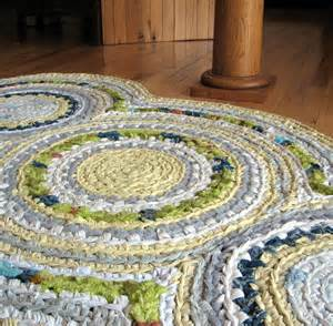 disc apple green and lemon yellow crocheted rag rug