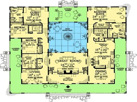 style floor plans style home plans with courtyards hacienda