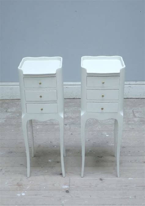 Slim White Bedside Table A3203 Pair Of Slim Bedside Tables