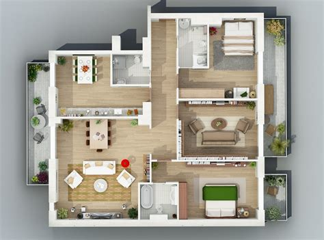 Apartment Layout Ideas by Apartment Designs Shown With Rendered 3d Floor Plans