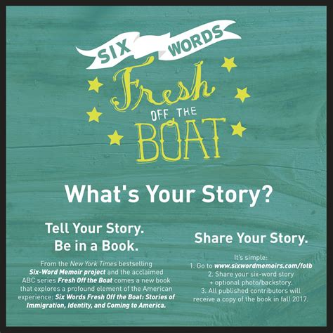 fresh off the boat book call for submissions quot six words fresh off the boat quot book