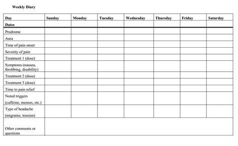 printable migraine diary template weekly headache diary headaches parents