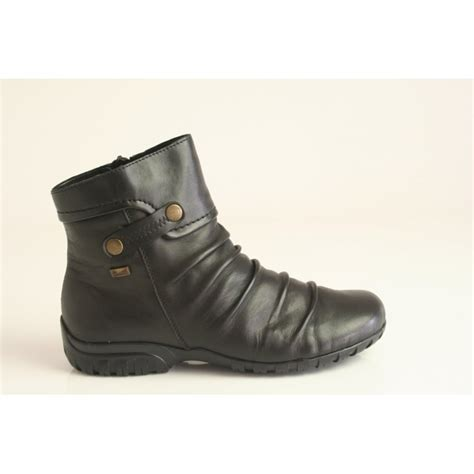 reiker boots rieker rieker black leather ankle boot with a ruched front