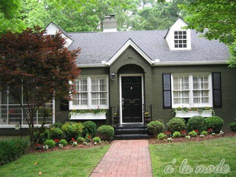 green house door color brick and forest green trim to army green brick to black trim house exterior