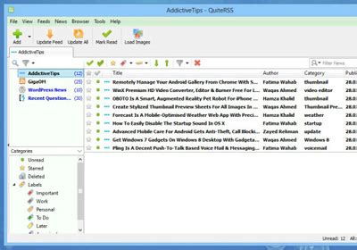quiterss is a powerful, multi tabbed rss reader for