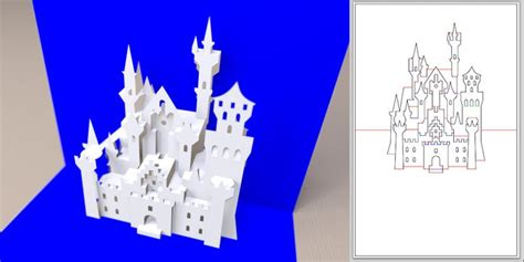 Disney Pop Up Card Template by Schloss Neuschwanstein Kirigami Png Popup Cards