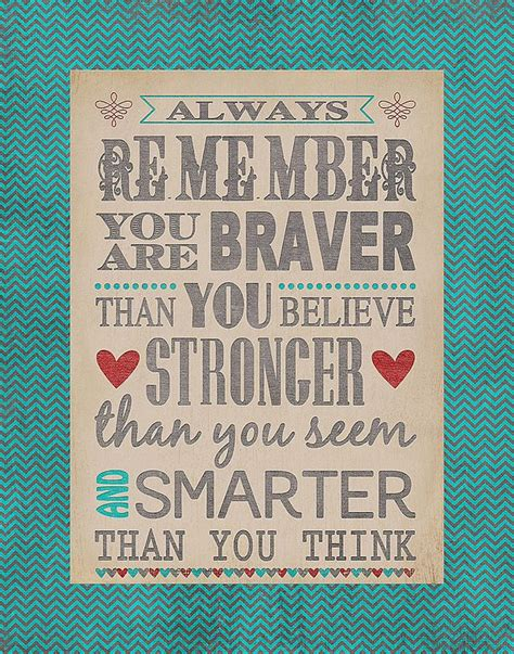 printable christopher robin quotes always remember you are braver than you believe stronger