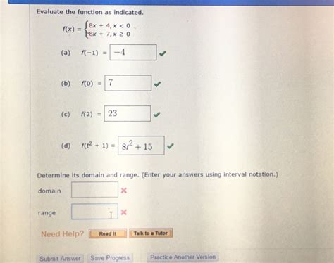 solved evaluate  function   fx