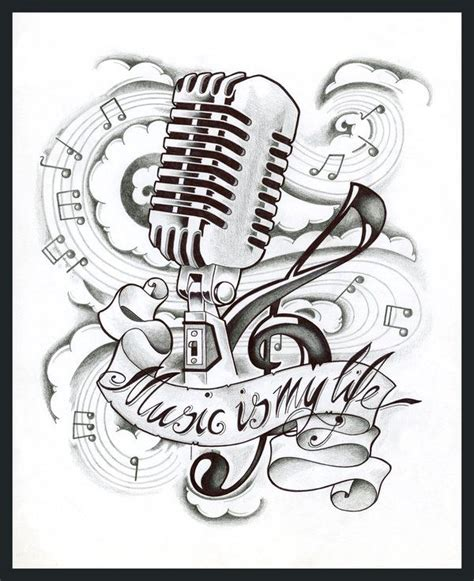 music is my life tattoo tattoo mic music life tattoo