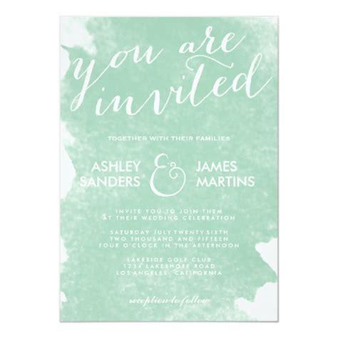 Chic Mint Green Watercolor Wedding Invitation Zazzle Com Mint Green Wedding Invitation Template