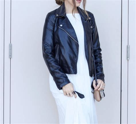 White Black Maxi white maxi dress black moto jacket elements of ellis