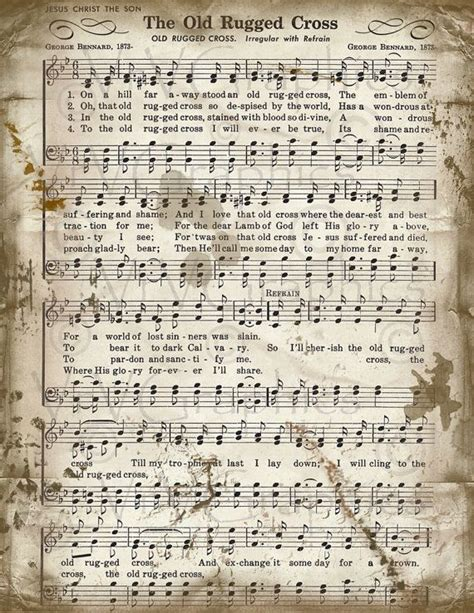 the rugged cross sheet christian hymn by