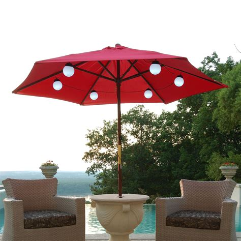 Patio Living Concepts 080 Bright White Led Solar Powered Patio Umbrella With Solar Led Lights
