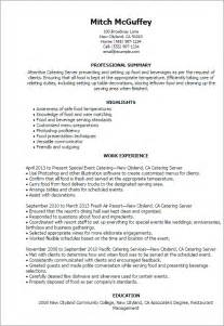 catering server resume templates 1