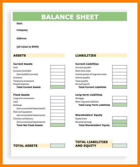 Basic Balance Sheet Template by 8 Basic Balance Sheet Template Time Table Chart