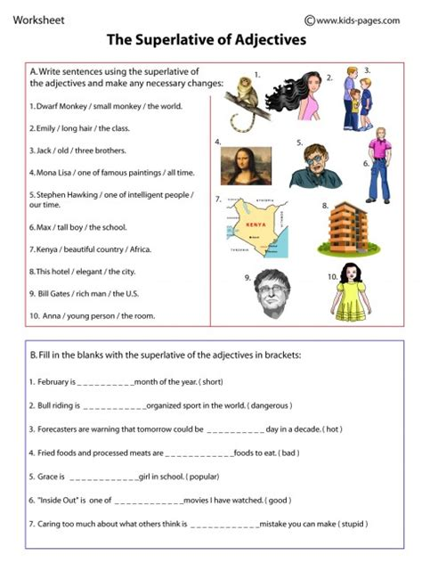 Comparative And Superlative Adjectives Worksheet Pdf by Superlatives Worksheet