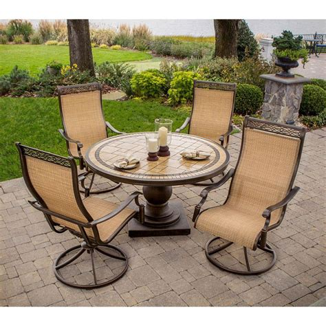 home depot patio dining sets hanover monaco 5 patio outdoor dining set