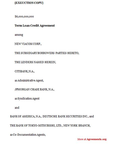 Credit Terms Agreement Template Term Loan Credit Agreement Sle Term Loan Credit