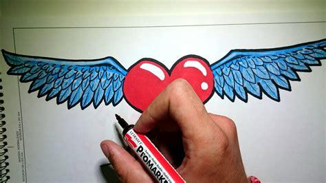 imagenes de corazones con alas y frases como dibujar un corazon con alas youtube