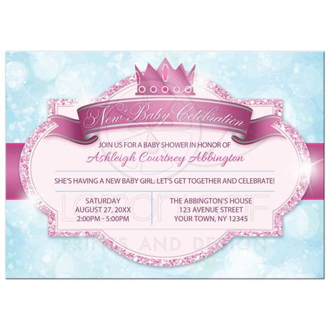 Blue And Pink Baby Shower Invitations by Baby Shower Invitations Royal Princess Pink Glitter Blue