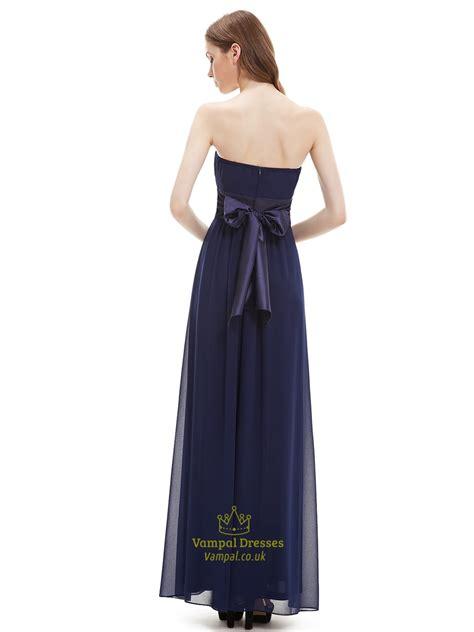 navy blue floor l navy blue strapless floor length chiffon bridesmaid dress
