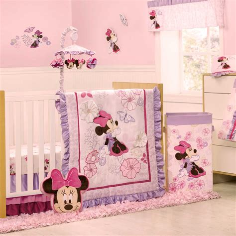 minnie mouse crib bedding nursery set kidsline minnie mouse butterfly dreams baby bedding collection baby bedding and accessories