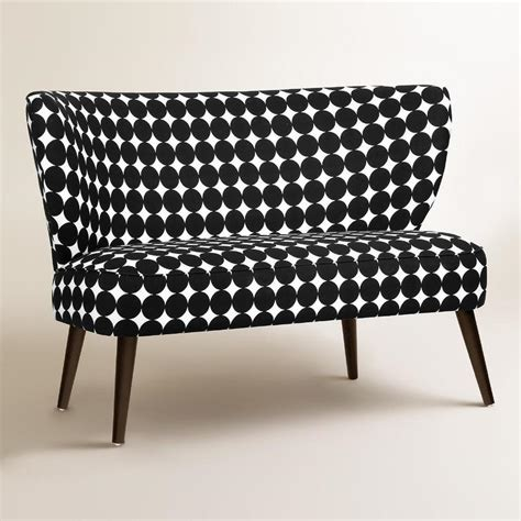 black and white loveseat jet dotscape kenway upholstered loveseat in black and white